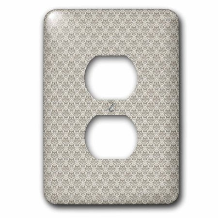 3dRose Charcoal Gray, Small Diamond Damask Pattern, 2 Plug Outlet Cover
