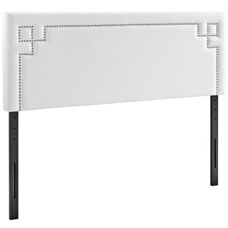 Modern Contemporary Urban Design Bedroom King Size Headboard, White, Faux Leather