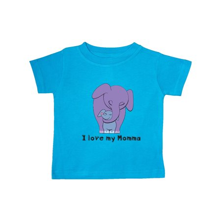 Blue Toddler T-shirt - I Love my Momma Elephant Purple Blue Baby T-Shirt