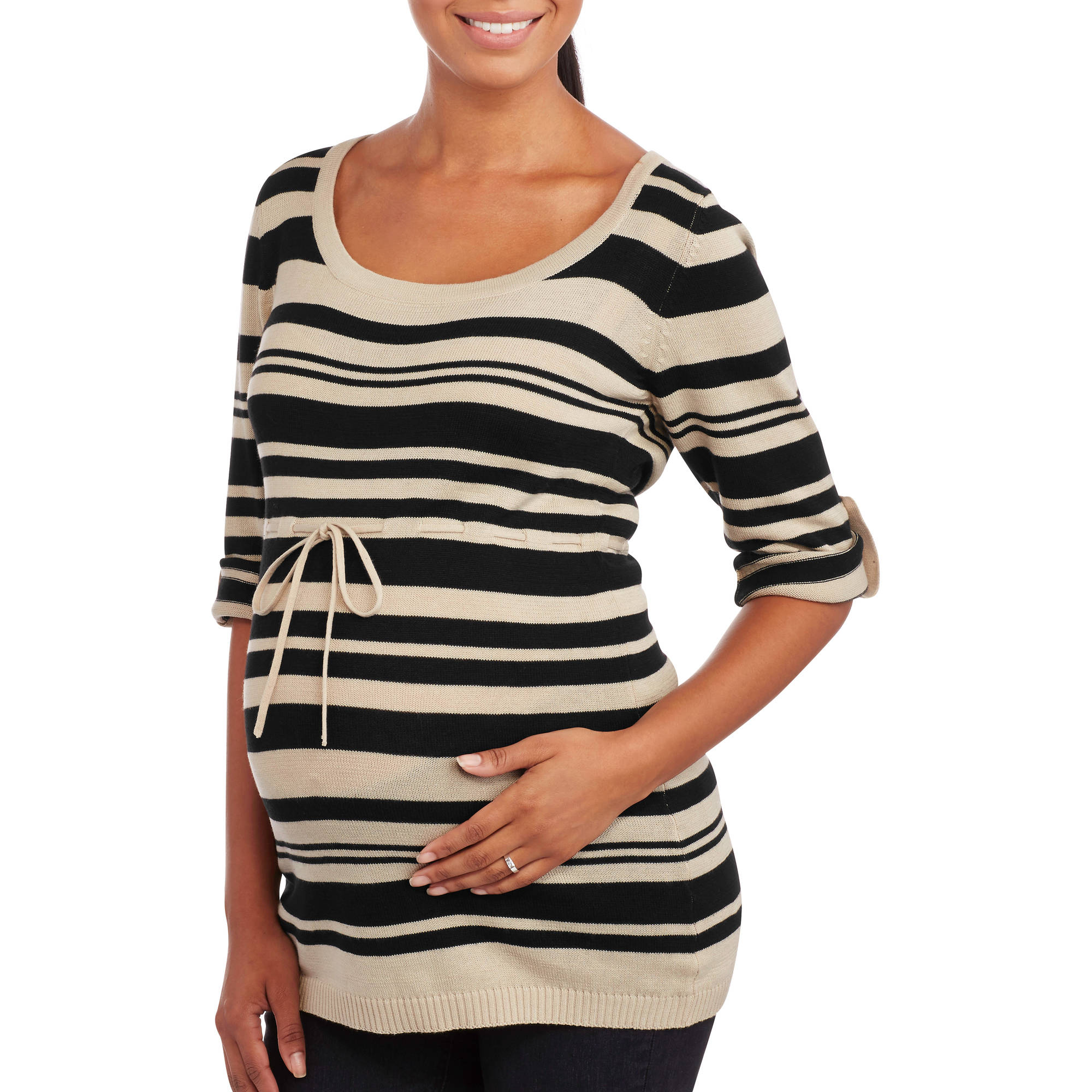 Oh! Mamma Maternity Striped Sweater Tunic with Drawstring Waist