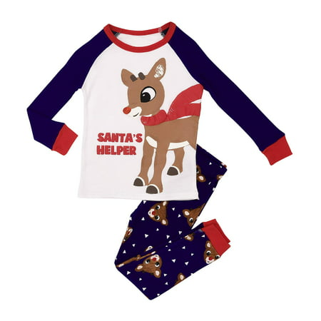 Rudolph the Red-Nosed Reindeer Boys' 2-Piece Snug Fit Pajama Set, Santa's Helper (Little Boy)