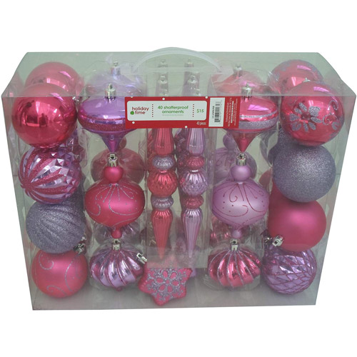 Holiday Time 40-Count Shatterproof Christmas Ornament Set, Pink/Purple