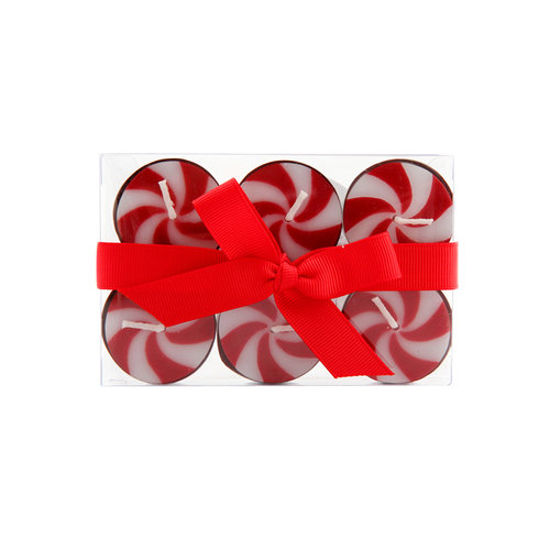 Holiday Time Candy Cane Tea Lights, 6pc