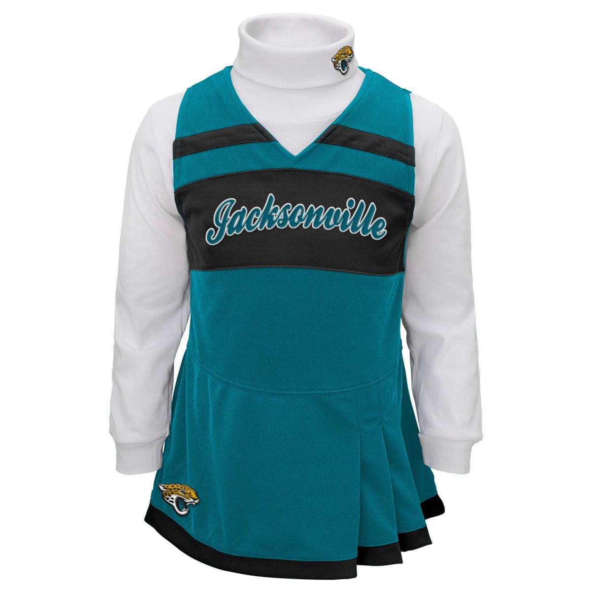 Jacksonville Jaguars NFL Toddler Girls Cheer Jumper Dress Set w/ Turtleneck
