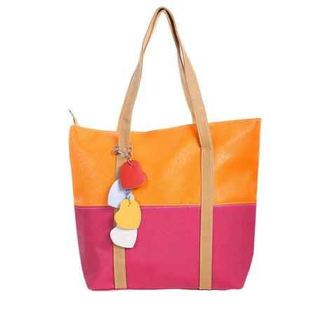 Unique Bargains Womens Color Block Dual Handles Zippered Top Classic Tote Bags