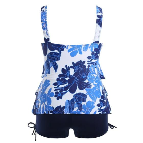 f7a3838815a ROSEGAL - Plus Size Floral Pattern Bowknot Embellished Set Tankini ...