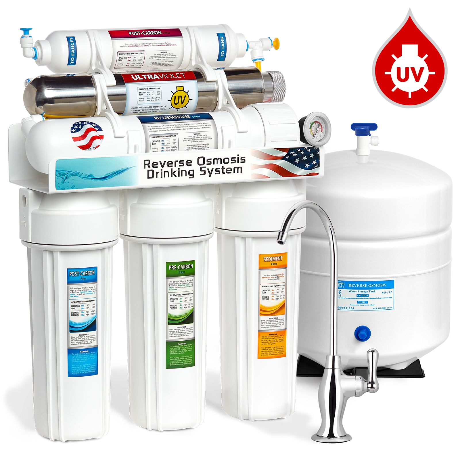 Express Water 6 Stage UV Ultra-Violet Sterilizer Reverse Osmosis Home Drinking Water Filtration System DELUXE faucet - PRESSURE GAUGE - ROUV5DG