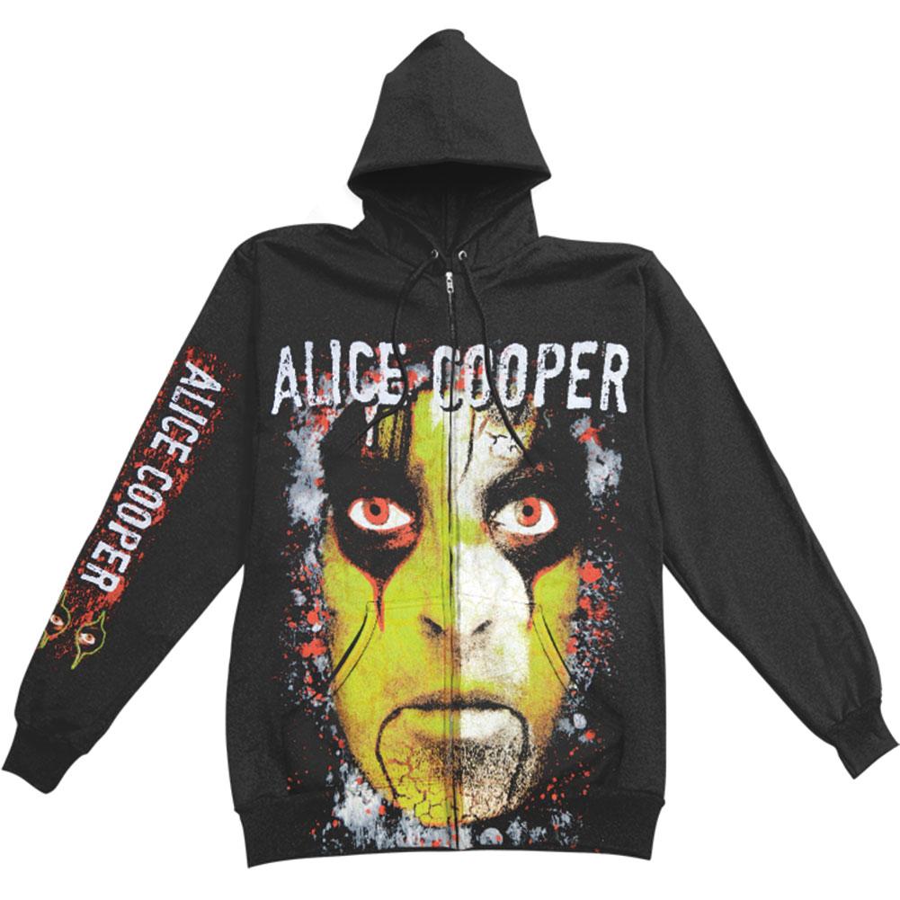 Alice Cooper Men's  Jumbo Eyes Zippered Hooded Sweatshirt Black