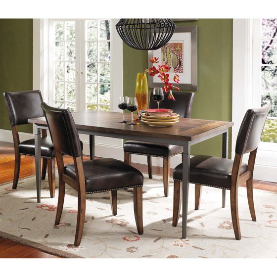 5 Piece Dining Set Wood Metal Frame Table And 4 Chairs: Hillsdale Cameron 5 Piece Rectangle Wood And Metal Dining
