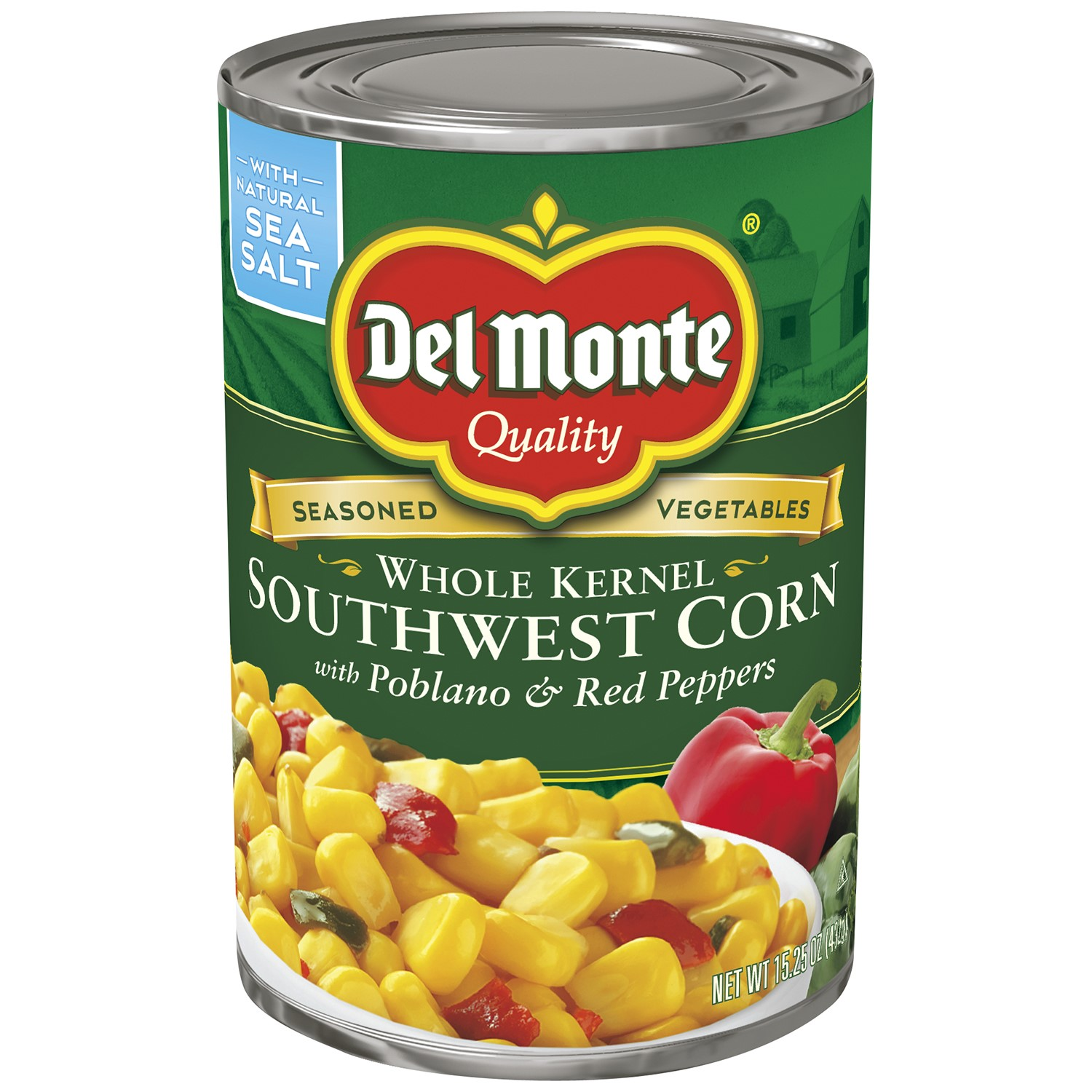Del Monte Whole Kernel Corn Southwest With Pablano & Red Peppers, 15.25 Oz