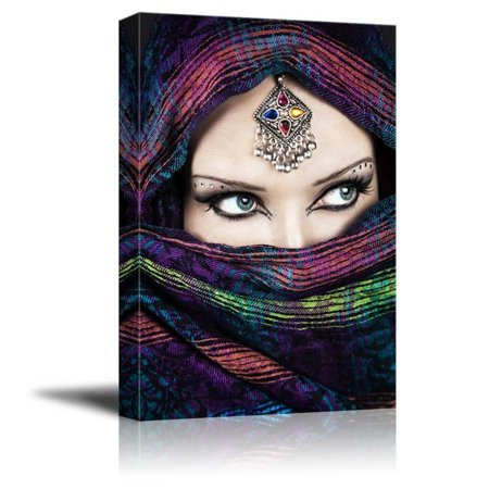 Wall26 - Canvas Prints Wall Art - Arabic Woman with Beautiful Eyes | Modern Wall Decor/ Home Decoration Stretched Gallery Canvas Wrap Giclee Print. Ready to Hang - 12