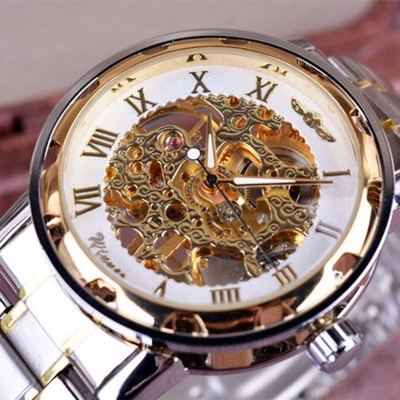 Winner Men Luxury Stainless Steel Band Watches Casual Mechanical Skeleton Watch Fashion Hand-Wind Wristwatch Hand Wind Watch Series