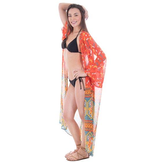 6b9742ec06 BASILICA - Women's Summer Bohemian Open Front Sheer Bikini Cover Up ...