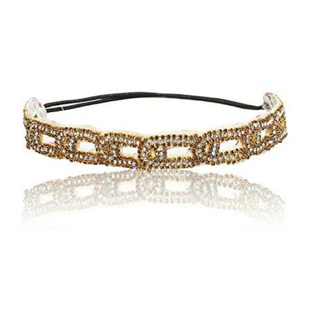 Champagne Golden Wedding Princess Rhinestone Headband Hair Piece
