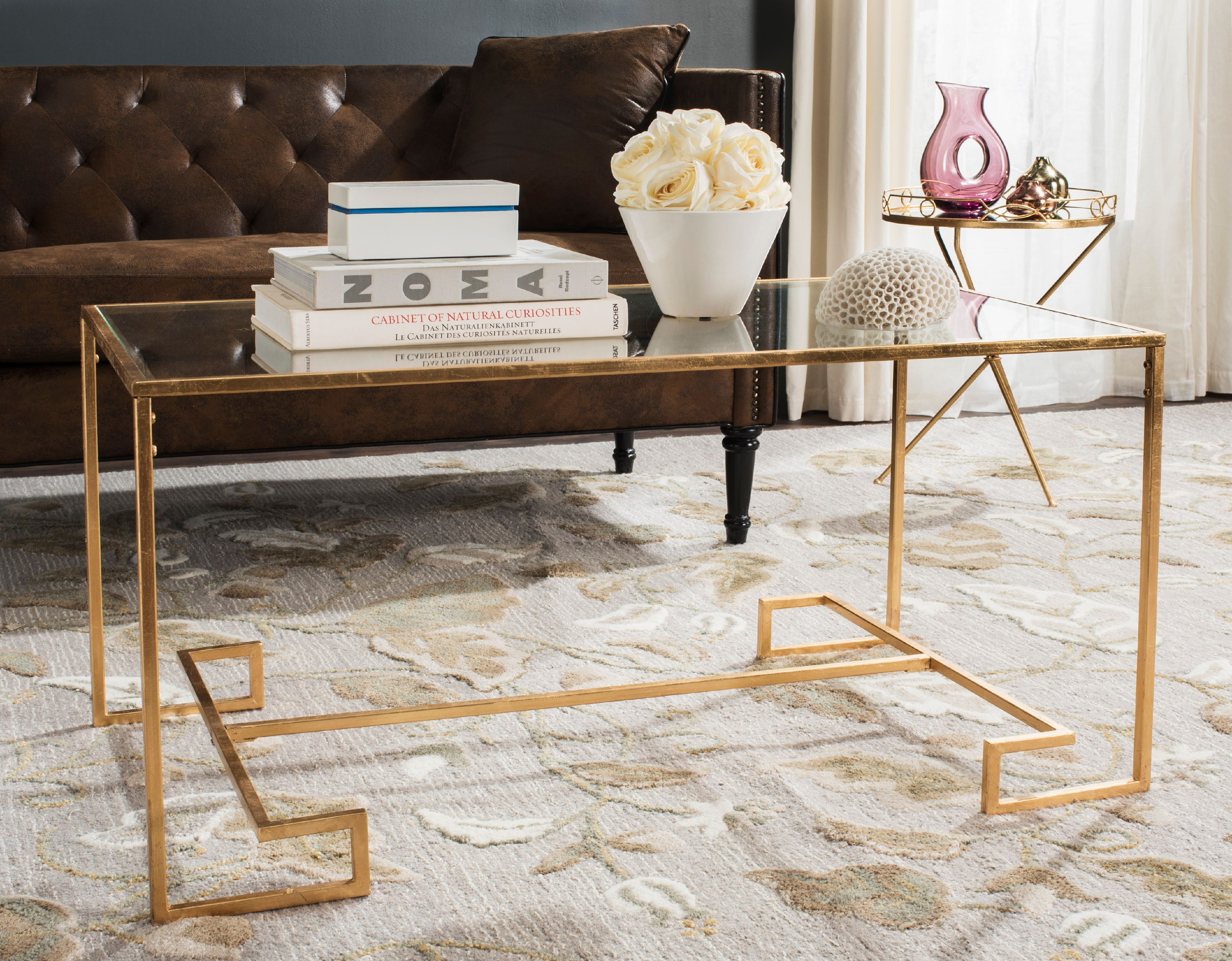Safavieh Burton Coffee Table, Antique Gold w  Mirror Top by Safavieh
