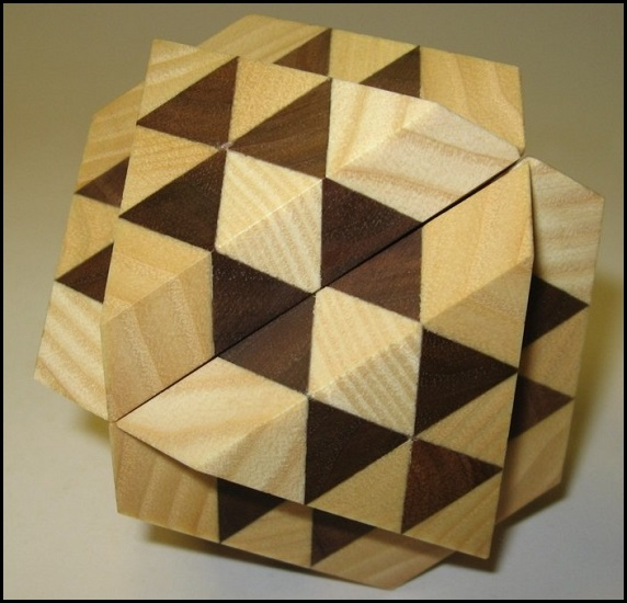 Dual Tetrahedron 6 Wooden Puzzle Brain Teaser by Vinco