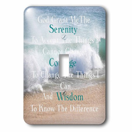 3dRose Image of Serenity Prayer On Calm Beach And Waves Photo Single T