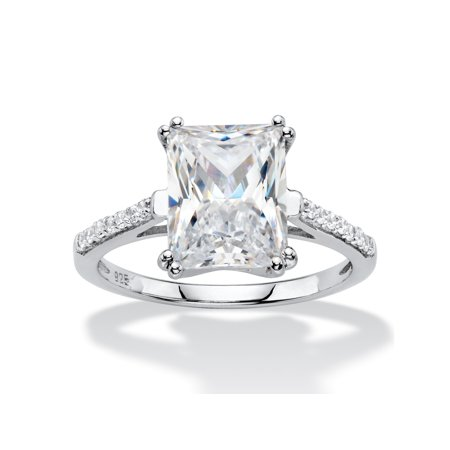 3.93 TCW Emerald-Cut White Cubic Zirconia Bridal Engagement Anniversary Ring in Platinum over Sterling (Best Platinum Engagement Rings)