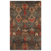 9' x 12' Bahn Ikat Charcoal Gray, Blue and Red Hand Knotted Jute Area Throw Rug