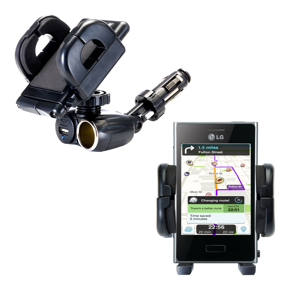 Dual USB / 12V Charger Car Cigarette Lighter Mount and Holder for the LG E400