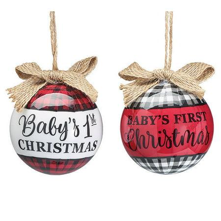 BABY'S FIRST CHRISTMAS Plaid Christmas Ball Ornaments, Set of 2, Burton & Burton](Plaid Christmas Ornaments)