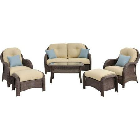 Hanover Newport 6-Piece Outdoor Wicker Lounge Set
