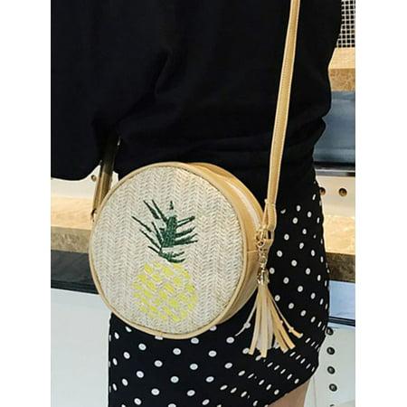 Funcee Women Simple Leaf Embroidered Messenger Leather Retro Tassel Handbag