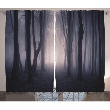 Farm House Decor Curtains 2 Panels Set, Path Through Dark Deep In Forest With Fog Halloween Creepy Twisted Branches Picture, Living Room Bedroom Accessories, By Ambesonne