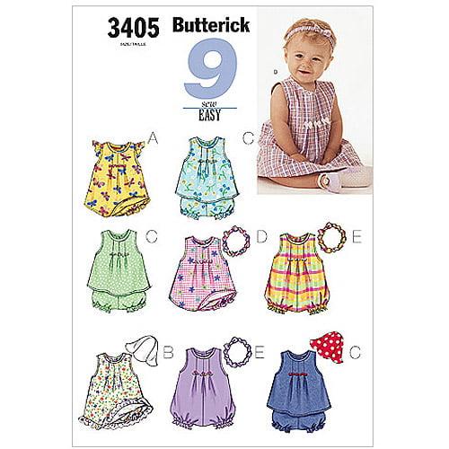 Butterick Pattern Infants' Dress, Top, Romper, Panties, Hat and Headband, L (L, XL)