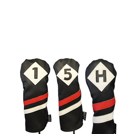 Majek Retro Golf Headcovers Black Red and White Vintage Leather Style 1 5 H Driver Fairway Wood and Hybrid Head Cover Classic Look
