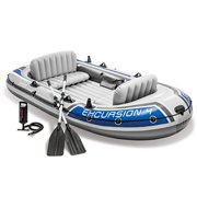 Intex Excursion 4 4-Person Inflatable Boat Set with Aluminum Oars and High Output Air Pump (Latest Model)
