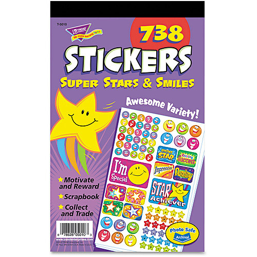 TREND Sticker Assortment Pack, Super Stars and Smiles, 738pk