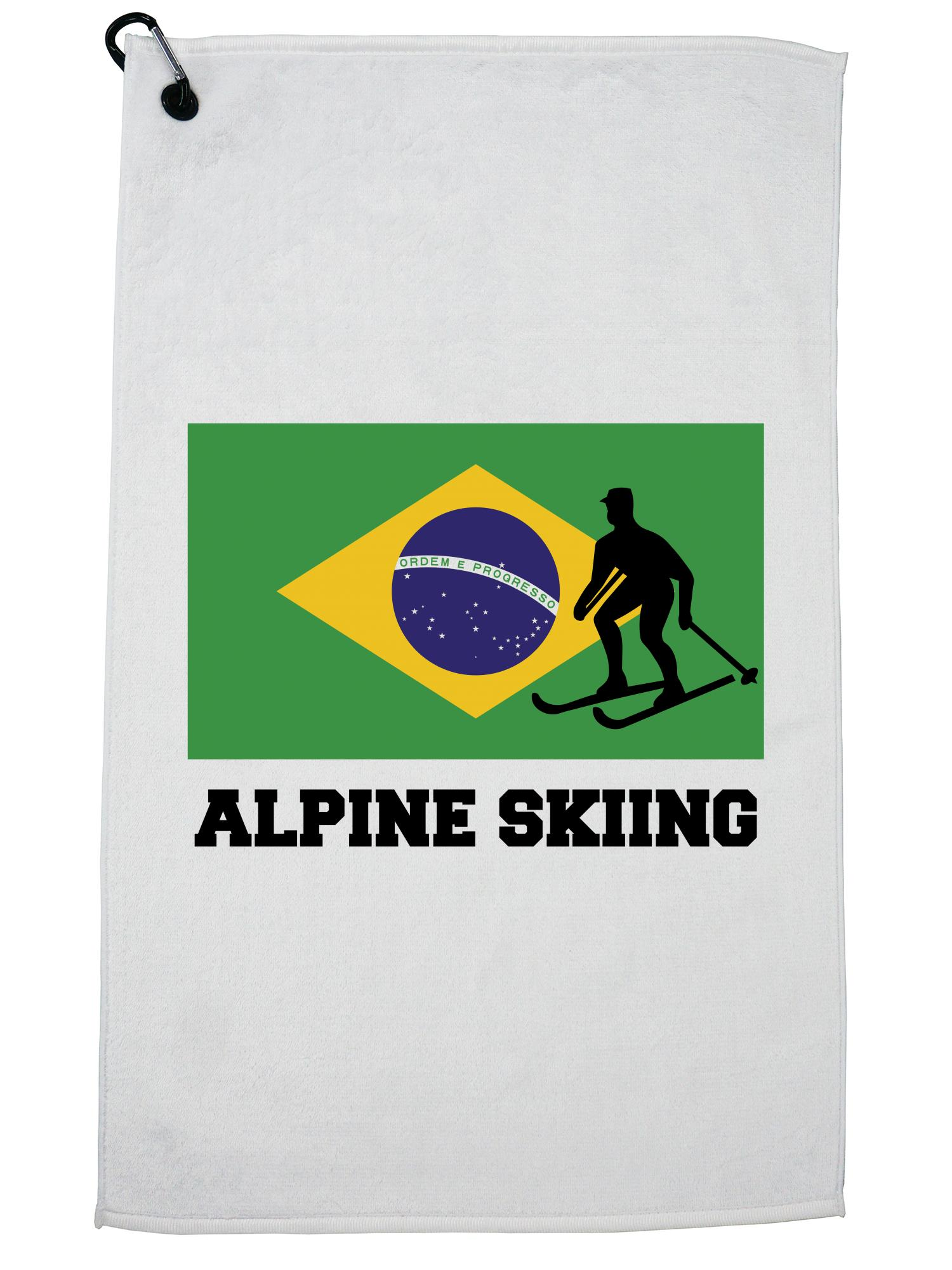 Brazil Olympic Alpine Skiing Flag Silhouette Golf Towel with Carabiner Clip by Hollywood Thread