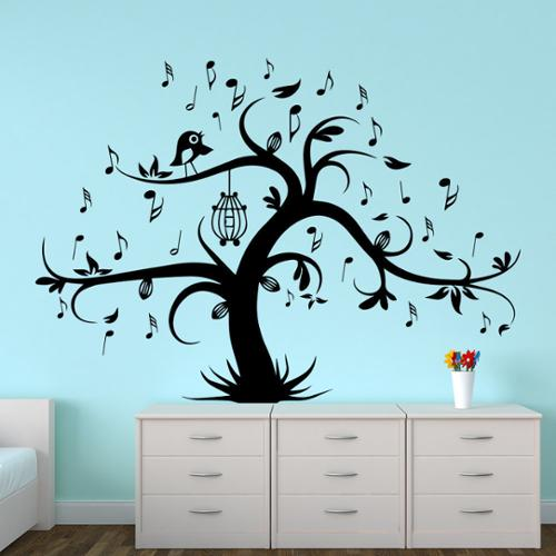Stickalz llc Wall Decal Tree Silhouette With Birdcage Bird Music Notes Wall Decals Home Decor