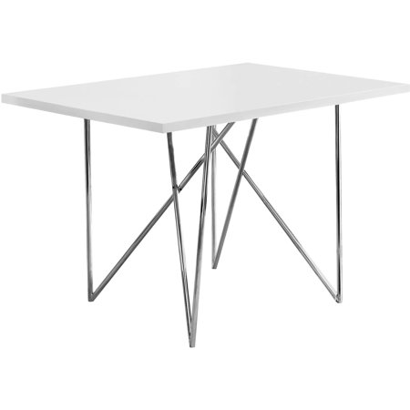 """Monarch Dining Table 32""""X 48"""" / White Glossy / Chrome Metal"""