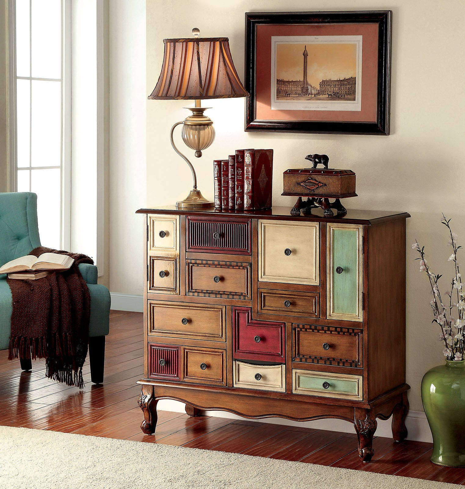 Simple Relax 1PerfectChoice Desree Accent Chest Cabinet Storage Console  Table Multi Colored Antique Walnut