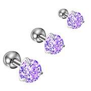BodyJ4You 3PC Tragus Earrings Cartilage Studs 16G Daith Labret Lip Purple CZ Steel Barbell Jewelry