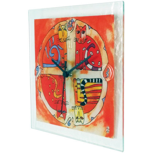 River City Clocks Square Glass Wall Clock with Cat Design
