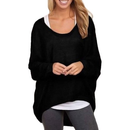Women Oversized Tops Batwing Sleeve Autumn Pullover Shirts Baggy Sweater Jumper Loose Long Sleeve Winter Crew Neck (Decoration Womens Winter Shorts)