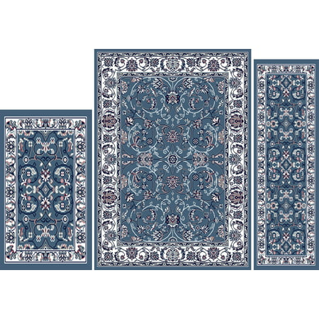 Blue Passion Vine - Red/Brown/Blue Traditional Vine Border Persian 3PC Rug Set - Area Rug (5' x 7'), Runner (2' x 5'), Accent Mat (2' x 3')