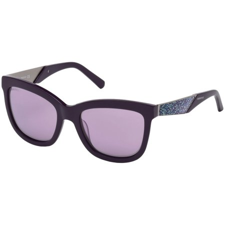 SUNGLASSES - POLARIZED FASHION SUN GLASSES SWAROVSKI  SHINY VIOLET / GRADIENT OR MIRROR VIOLET  WOMAN SK0125-5481Z - image 3 of 3
