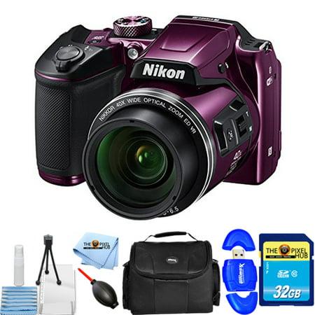 Nikon COOLPIX B500 Digital Camera (Purple) 26507-IV Starter Bundle with 32GB SD, Memory Card Reader, Gadget Bag, Microfiber Cloth, Blower & Cleaning