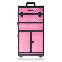 ($350 Value) SHANY REBEL Series Rolling Train Makeup Case, Pro Makeup Artists Trolley Case, Provocative Rose