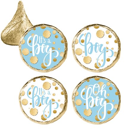 Blue Gold Boy Baby Shower Stickers 324ct - Blue and Gold Its a Boy Baby Shower Decorations Candy Favors - 324 Count Stickers