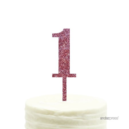 Pink Glitter Number 1 Acrylic Birthday Cake Topper