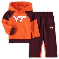 Virginia Tech Hokies Toddler Sideline Raglan Pullover Hoodie & Pants Set - Orange