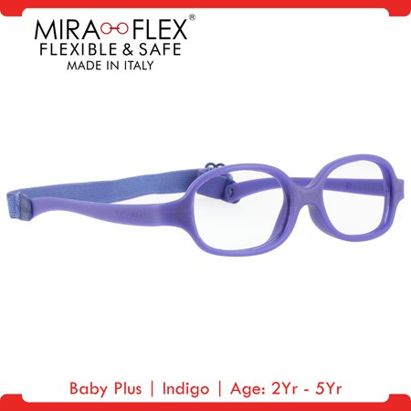Miraflex: Baby Plus Unbreakable Kids Eyeglass Frames | 39/14 - Indigo | Age: 2Yr - - Flashing Eyeglasses