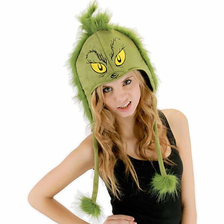 Dr. Seuss Grinch Hoodie Hat Adult Halloween Accessory](Halloween Is Grinch Night Vhs)