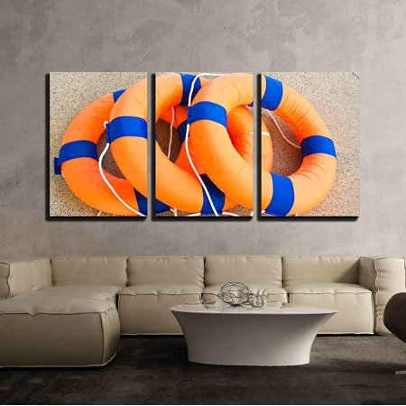 wall26 - 3 Piece Canvas Wall Art - Life Preserver Floating - Modern Home Decor Stretched and Framed Ready to Hang - 16