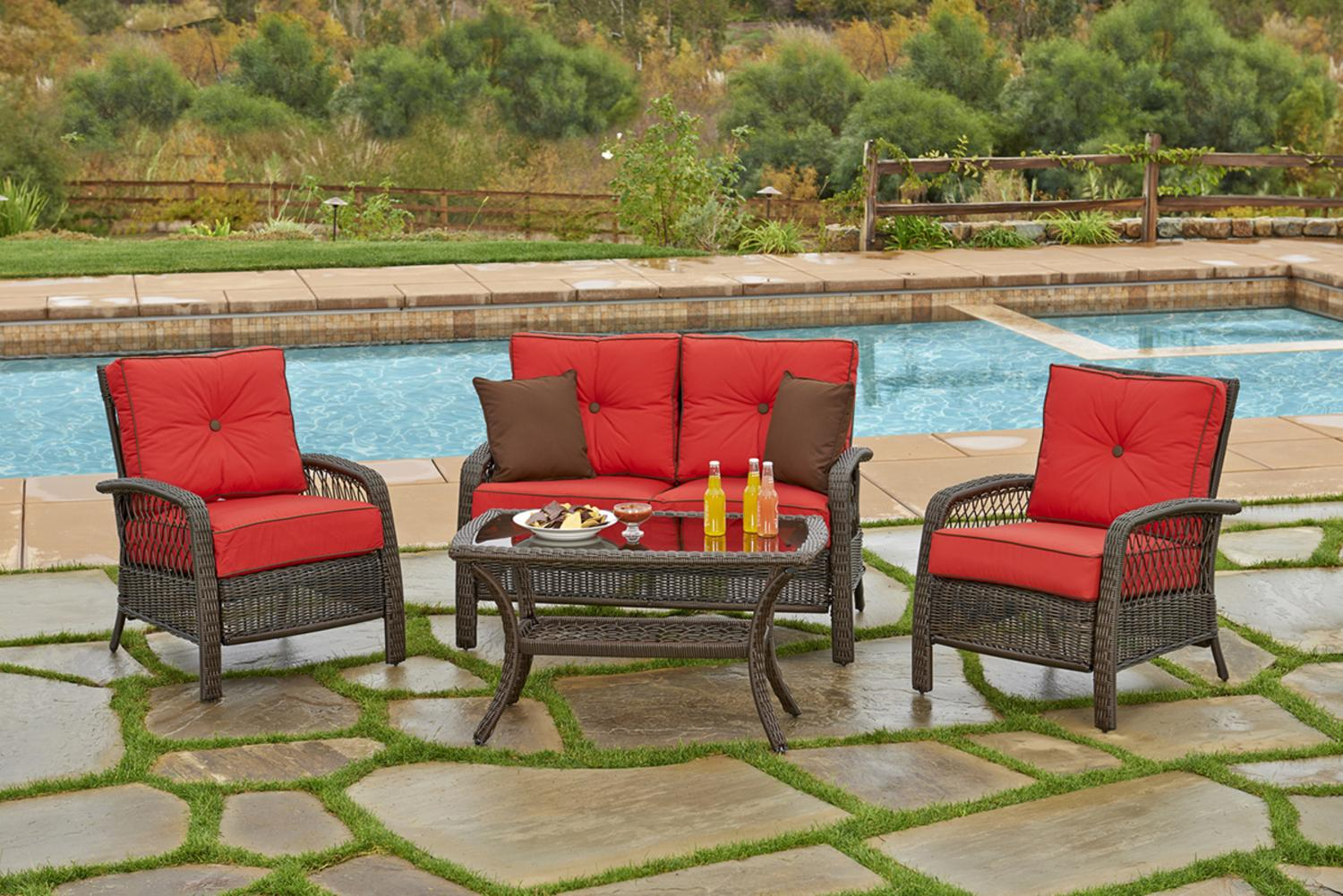 4 Piece Beacon Cappuccino Resin Wicker Patio Loveseat, Chairs U0026 Table  Furniture Set